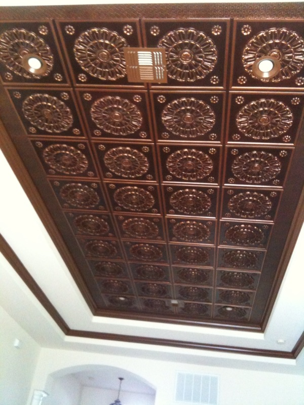 Tray Ceiling Antique Copper Faux Tin Project Decorative